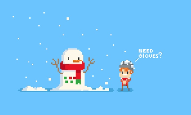 Menino bonito do pixel que pergunta o boneco de neve sobre luvas