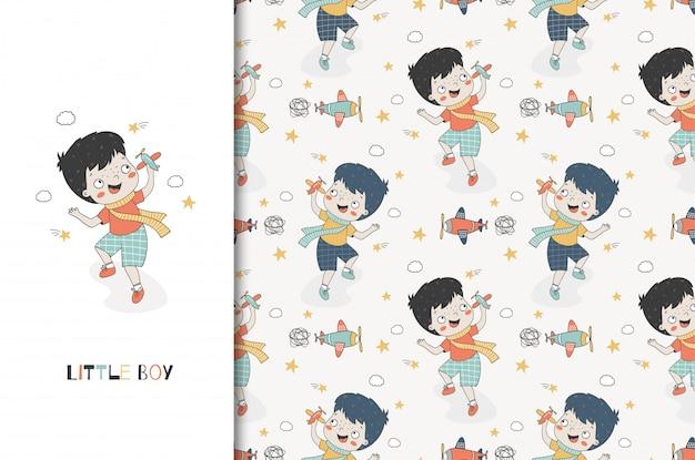 Menino bonito dos desenhos animados brincando com o avião de brinquedo. modelo de impressão de cartão de crianças e padrão sem emenda. desenho desenhado à mão
