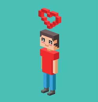 Menino bonito dos desenhos animados com ilustração vetorial de coração