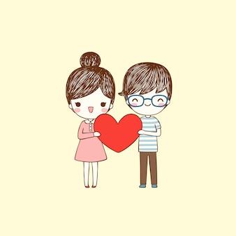 Menino bonito dos desenhos animados e menina segurando coração grande em estilo simples