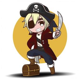 Menino bonito dos desenhos animados em traje de pirata