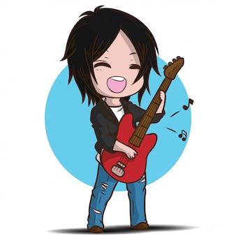 Menino bonito dos desenhos animados está tocando violão.