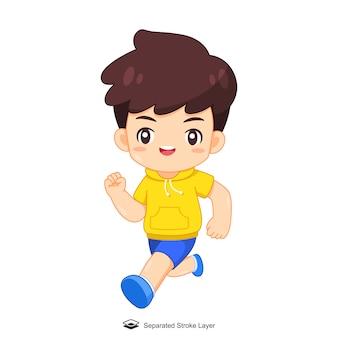 Menino bonito dos desenhos animados, executando a ilustração