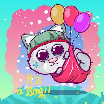 Menino bonito dos desenhos animados gatinho voando com balões