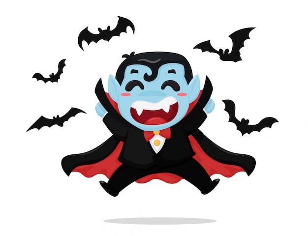 Menino bonito dos desenhos animados usando traje drácula está curtindo a festa no dia das bruxas.