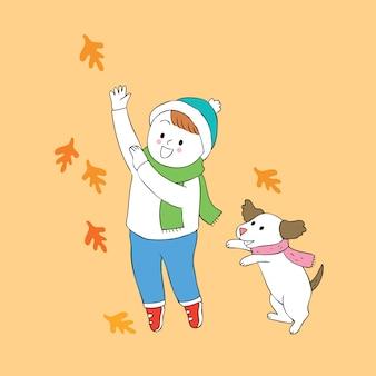 Menino bonito e cão do outono dos desenhos animados que jogam o vetor.