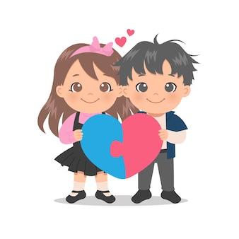 Menino bonito e menina apaixonada, segurando um quebra-cabeça em forma de coração. coincidir com o conceito de casal. dia dos namorados estilo cartoon plana. Vetor Premium