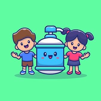 Menino bonito e menina com ilustração de ícone dos desenhos animados de garrafa de desinfetante para as mãos. conceito de ícone de saúde de pessoas isolado. estilo flat cartoon Vetor Premium
