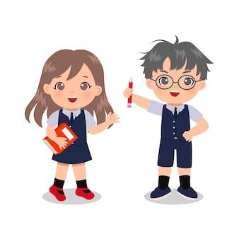 Menino bonito e menina com uniforme escolar. clip-art educacional. desenho isolado em branco