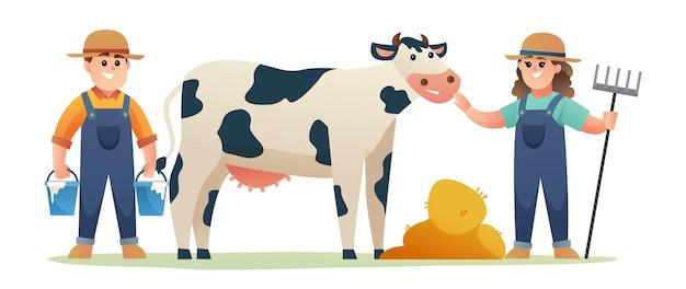 Menino bonito e menina do fazendeiro com vaca leiteira e ilustração dos desenhos animados de grãos