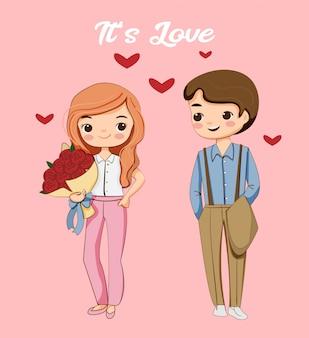 Menino bonito e menina inlove juntos desenhos animados para o conceito de dia dos namorados