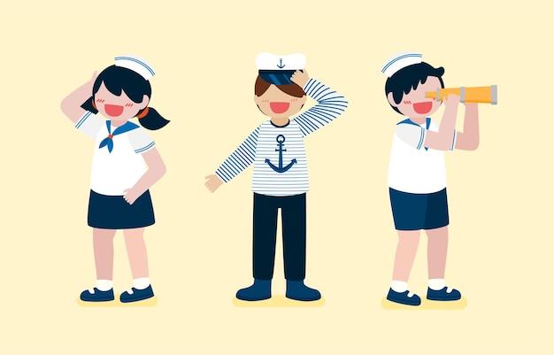 Menino bonito e menina vestindo uniforme de marinheiro, menino usa binóculo para olhar longe, em personagem de desenho animado