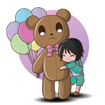 Menino bonito e urso de pelúcia segurando um balão.
