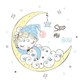 Menino bonito em um boné dormindo na lua.
