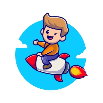 Menino bonito equitação foguete ícone ilustração dos desenhos animados.