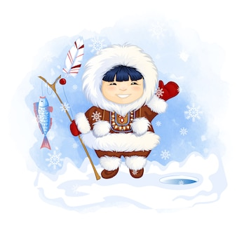 Menino bonito esquimó segura uma vara de pescar com um peixe apanhado e acena com a mão em saudação.