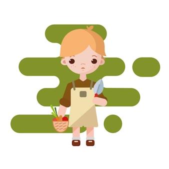 Menino bonito fazendeiro. menino de fazendeiro isolado. ilustração. menino de jardineiro com legumes nas mãos.