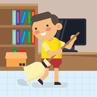 Menino bonito fazendo atividades de casa-núcleo. poster de hábito de limpeza para crianças