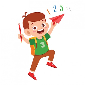 Menino bonito garoto estudante feliz com livro e lápis