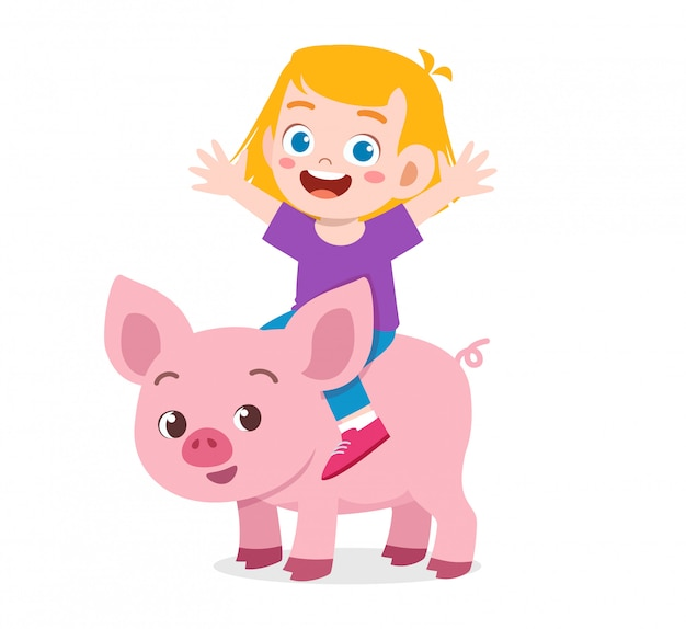 Menino bonito garoto feliz montando porco bonito