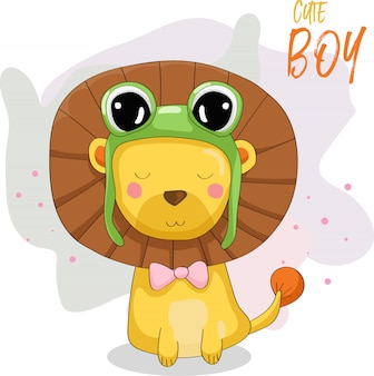 Menino bonito leão com chapéu de sapo