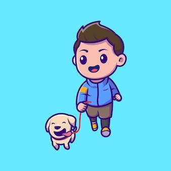 Menino bonito, movimentando-se com a ilustração do ícone dos desenhos animados do cão. conceito de ícone de animais de pessoas isolado. estilo flat cartoon