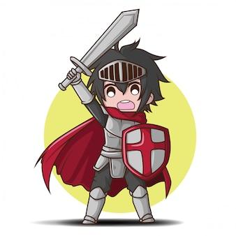 Menino bonito no desenho de fantasia de cavaleiro