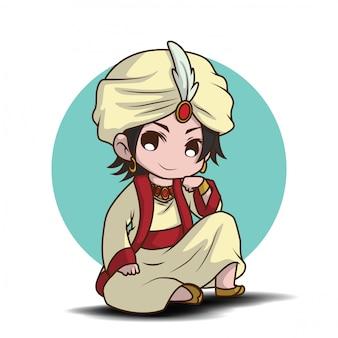Menino bonito no desenho de traje do príncipe árabe