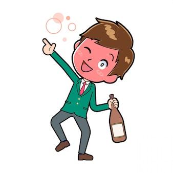 Menino bonito personagem de desenho animado, álcool