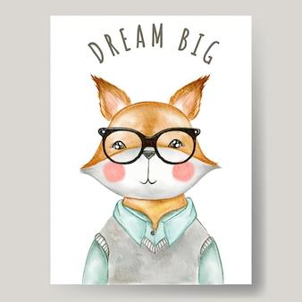 Menino bonito raposa usando óculos ilustração aquarela decoração berçário
