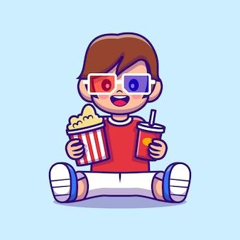 Menino bonito segurando pipoca e ilustração de desenho animado de bebida