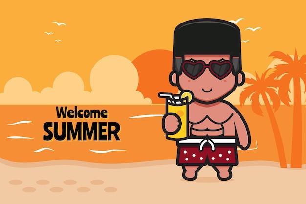 Menino bonito segurando suco de laranja com uma ilustração do ícone dos desenhos animados de banner de saudação de verão