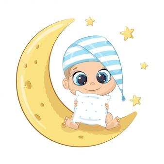 Menino bonito, sentado na lua.