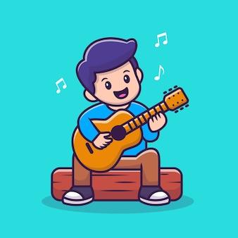 Menino bonito tocando guitarra ilustração em vetor dos desenhos animados.