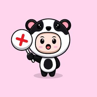 Menino bonito, vestindo fantasia de panda, segurando a placa errada ou o sinal da cruz. ilustração plana personagem fantasia animal