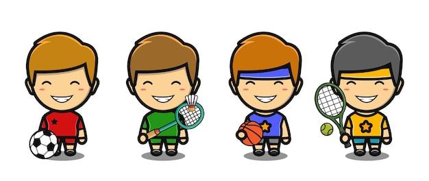 Menino bonito vestindo roupas esportivas mascote desenho animado