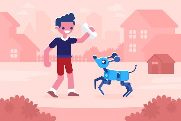 Menino brincando com cachorro cibernético conceito de inteligência artificial