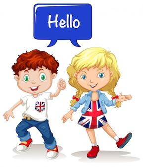 Menino britânico, e, menina, dizendo olá