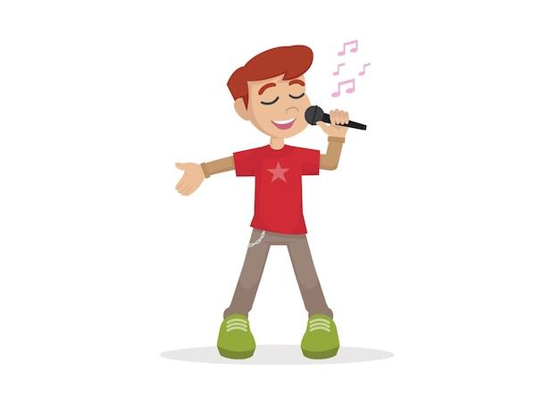 Menino canta uma música em um microfone.