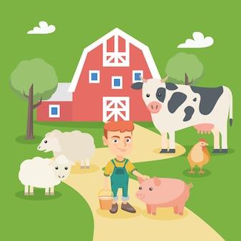 Menino caucasiano com animais de fazenda.