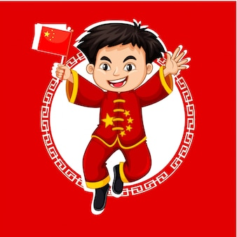 Menino chinês em traje vermelho