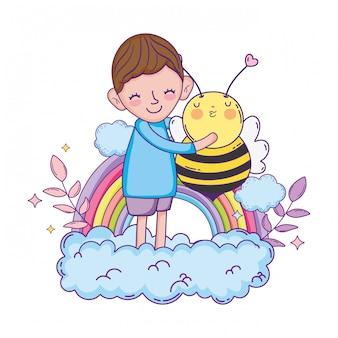 Menino, com, abelha, kawaii, personagem