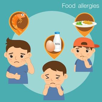 Menino com alergias alimentares