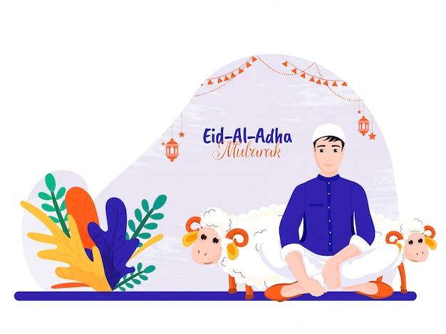 Menino com animais para a comunidade muçulmana