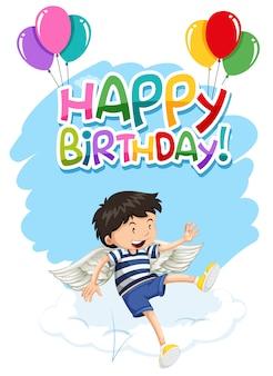 Menino, com, asas, feliz aniversário, cartão