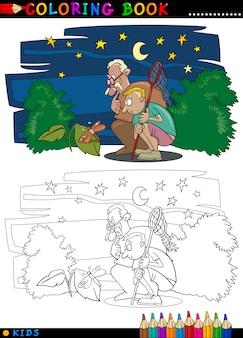 Menino com avô para colorir