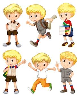 Menino com cabelos loiros em diferentes ações ilustração
