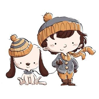 Menino com cachorro no inverno