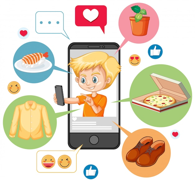 Menino com camisa laranja pesquisando no personagem de desenho animado do smartphone isolado