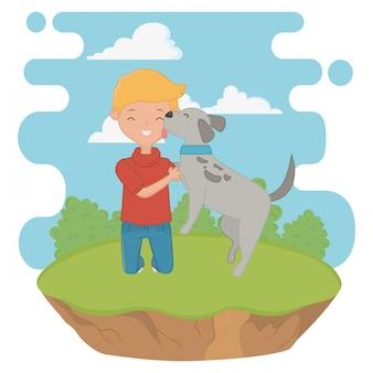 Menino, com, cão, caricatura, desenho